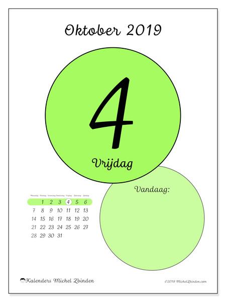 Kalender oktober 2019, 45-4MZ. Kalender voor de dag om gratis te printen.