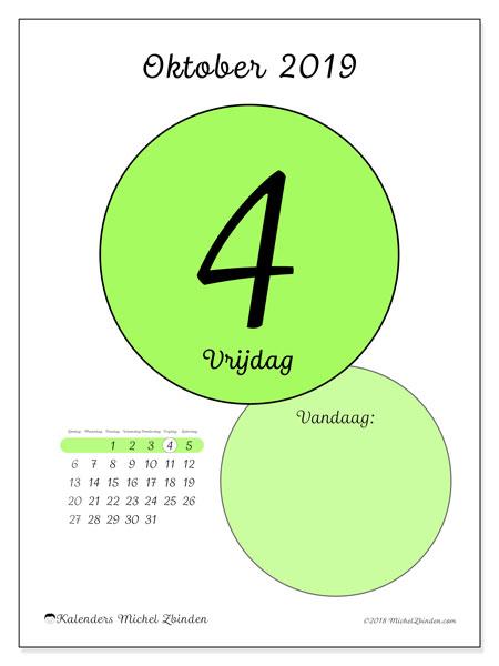 Kalender oktober 2019, 45-4ZZ. Kalender voor de dag om gratis te printen.
