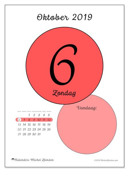 Kalender oktober 2019, 45-6ZZ. Dagelijkse kalender om gratis te printen.