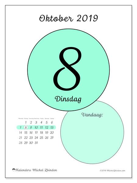 Kalender oktober 2019, 45-8MZ. Dagelijkse kalender om gratis te printen.