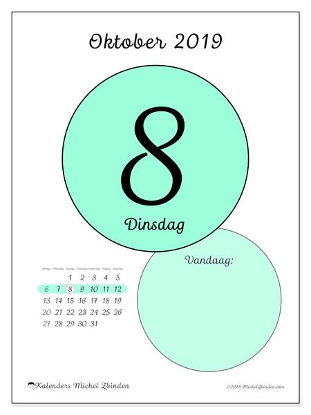Kalender oktober 2019, 45-8ZZ. Dagelijkse kalender om gratis te printen.