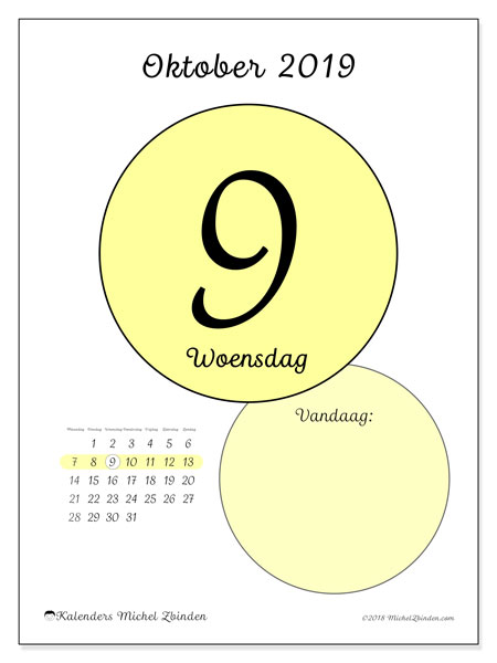 Kalender oktober 2019, 45-9MZ. Dagelijkse kalender om gratis te printen.