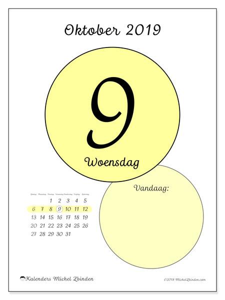 Kalender oktober 2019, 45-9ZZ. Dagelijkse kalender om gratis te printen.