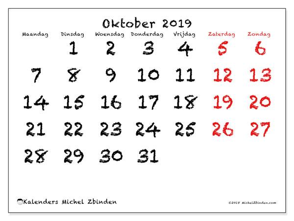 Kalender oktober 2019, 46MZ. Gratis afdrukbare kalender.