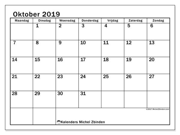 Kalender oktober 2019, 50MZ. Gratis kalender om af te drukken.