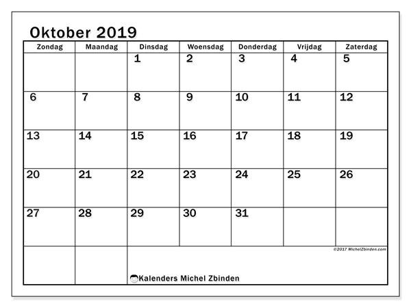 Kalender oktober 2019, 50ZZ. Kalender voor de maand die gratis moet worden afgedrukt.