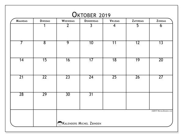 Kalender oktober 2019, 51MZ. Kalender om gratis te printen.