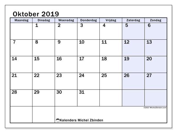 Kalender oktober 2019, 57MZ. Gratis afdrukbare kalender.