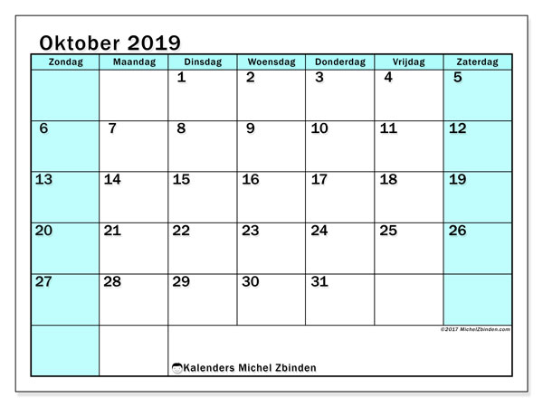 Kalender oktober 2019, 59ZZ. Gratis kalender om af te drukken.