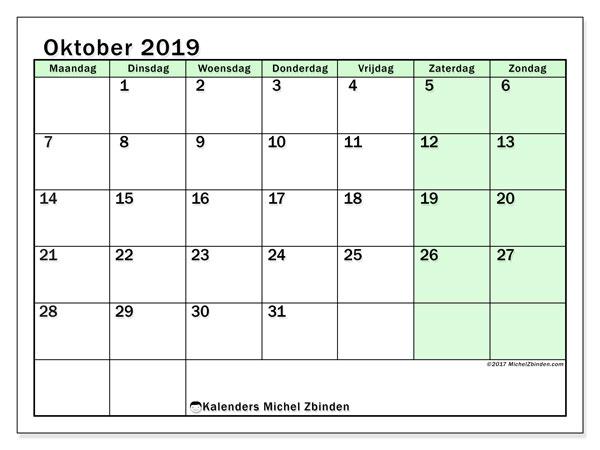 Kalender oktober 2019, 60MZ. Gratis kalender om af te drukken.
