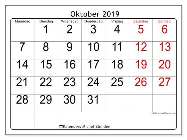 Kalender oktober 2019, 62MZ. Maandkalender om gratis te printen.