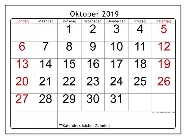 Kalender oktober 2019, 62ZZ. Agenda om gratis te printen.