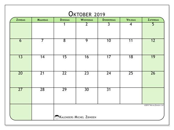 Kalender oktober 2019, 65ZZ. Kalender om gratis te printen.