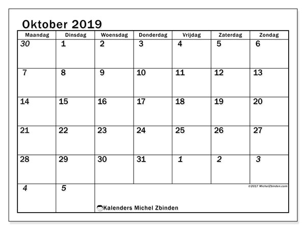 Kalender  oktober 2019, 66MZ