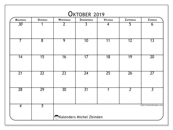 Kalender oktober 2019, 67MZ. Gratis kalender om af te drukken.