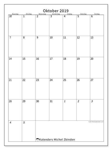 Kalender oktober 2019, 68MZ. Schema om gratis te printen.