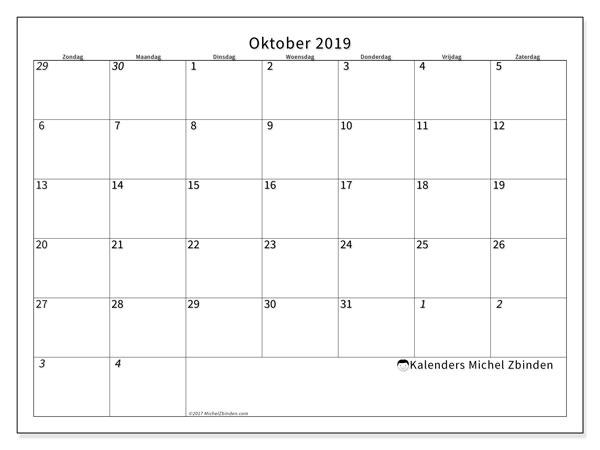 Kalender oktober 2019, 70ZZ. Kalender voor de maand die gratis moet worden afgedrukt.