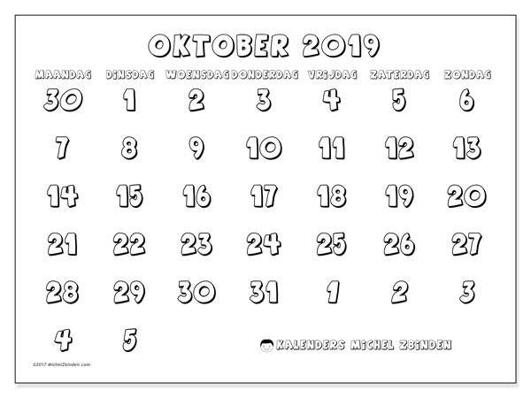 Kalender oktober 2019, 71MZ. Gratis kalender om af te drukken.