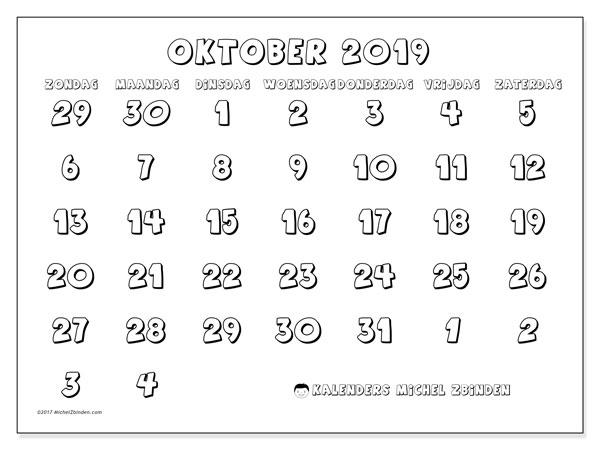 Kalender oktober 2019, 71ZZ. Agenda om gratis te printen.
