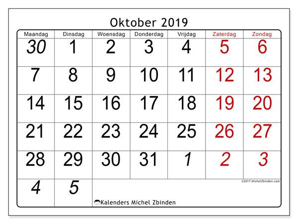 Kalender oktober 2019, 72MZ. Gratis kalender om af te drukken.