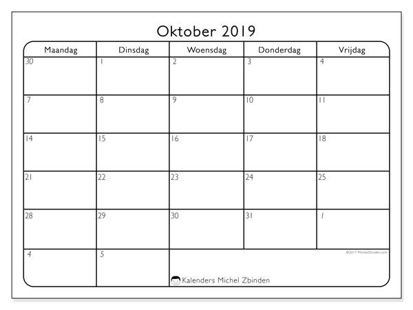 Kalender oktober 2019, 74MV. Agenda om gratis te printen.