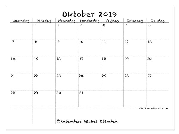 Kalender oktober 2019, 77MZ. Agenda om gratis te printen.