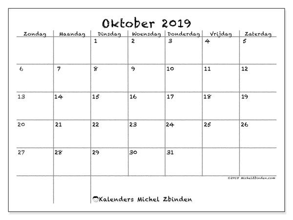 Kalender oktober 2019, 77ZZ. Gratis kalender om af te drukken.