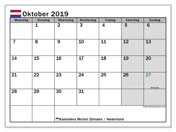 Kalender oktober 2019, met feestdagen in Nederland. Kalender om gratis te printen met feestdagen.