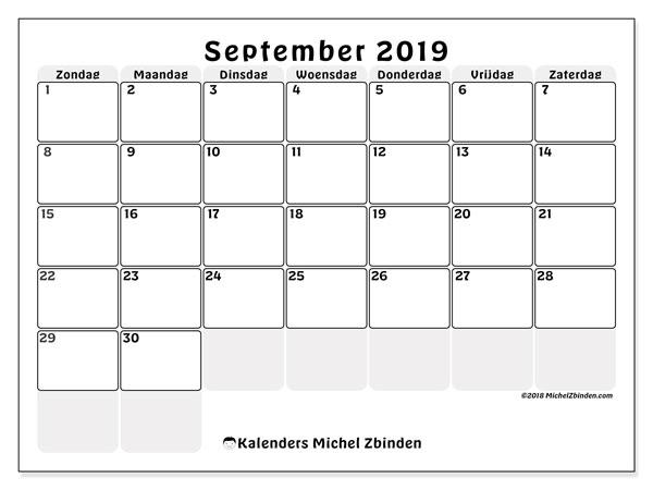 Kalender september 2019, 44ZZ. Gratis afdrukbare kalender.