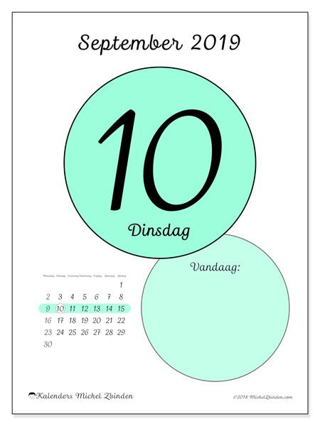 Kalender september 2019, 45-10MZ. Kalender voor de dag om gratis te printen.
