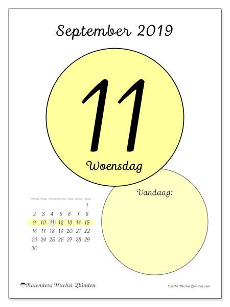 Kalender september 2019, 45-11MZ. Dagelijkse kalender om gratis te printen.