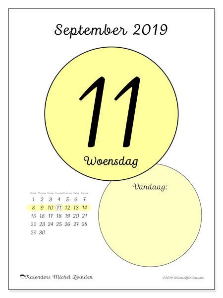 Kalender september 2019, 45-11ZZ. Dagelijkse kalender om gratis te printen.