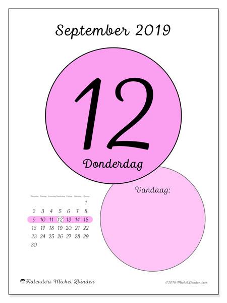 Kalender september 2019, 45-12MZ. Dagelijkse kalender om gratis te printen.