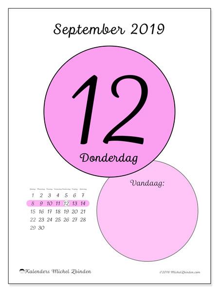 Kalender september 2019, 45-12ZZ. Dagelijkse kalender om gratis te printen.