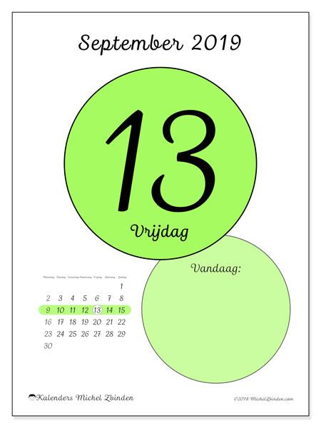 Kalender september 2019, 45-13MZ. Kalender voor de dag om gratis te printen.