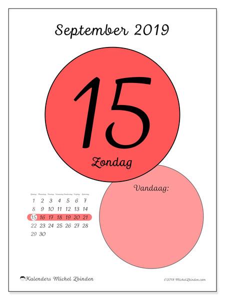 Kalender september 2019, 45-15ZZ. Kalender voor de dag om gratis te printen.