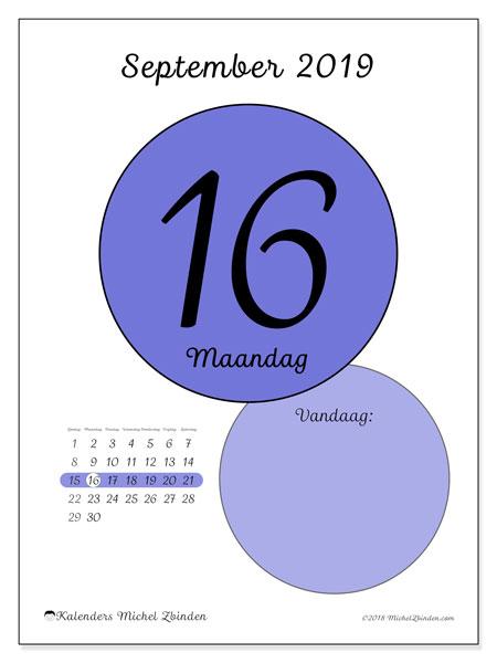 Kalender september 2019, 45-16ZZ. Dagelijkse kalender om gratis te printen.