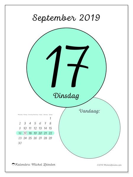 Kalender september 2019, 45-17MZ. Kalender voor de dag om gratis te printen.