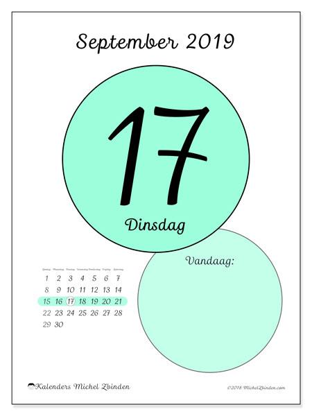 Kalender september 2019, 45-17ZZ. Dagelijkse kalender om gratis te printen.