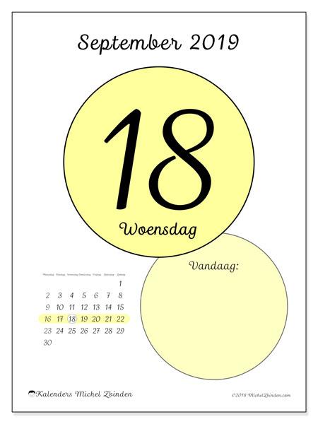 Kalender september 2019, 45-18MZ. Kalender voor de dag om gratis te printen.