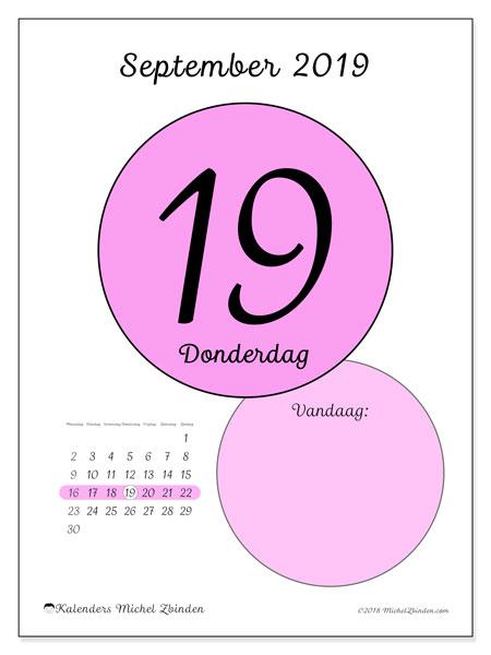 Kalender september 2019, 45-19MZ. Kalender voor de dag om gratis te printen.