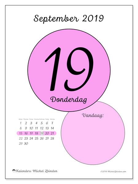Kalender september 2019, 45-19ZZ. Kalender voor de dag om gratis te printen.