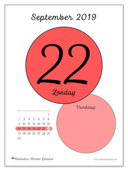Kalender september 2019, 45-22MZ. Dagelijkse kalender om gratis te printen.