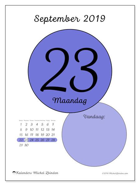 Kalender september 2019, 45-23ZZ. Kalender voor de dag om gratis te printen.