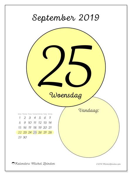 Kalender september 2019, 45-25ZZ. Kalender voor de dag om gratis te printen.