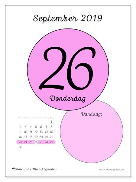 Kalender september 2019, 45-26MZ. Kalender voor de dag om gratis te printen.