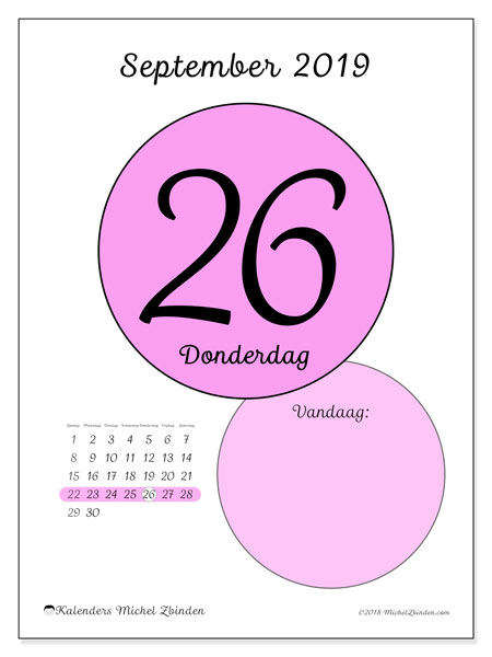 Kalender september 2019, 45-26ZZ. Dagelijkse kalender om gratis te printen.