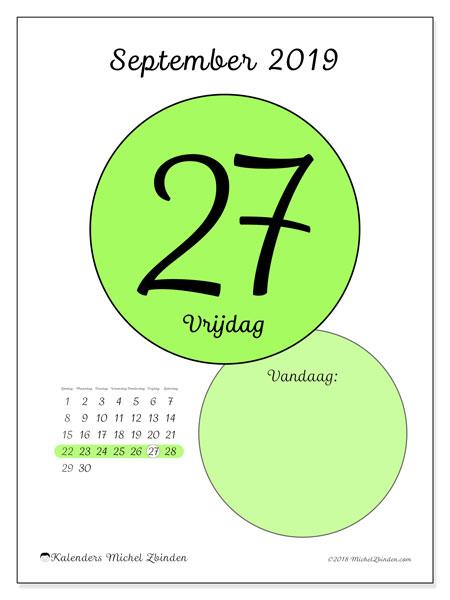 Kalender september 2019, 45-27ZZ. Kalender voor de dag om gratis te printen.