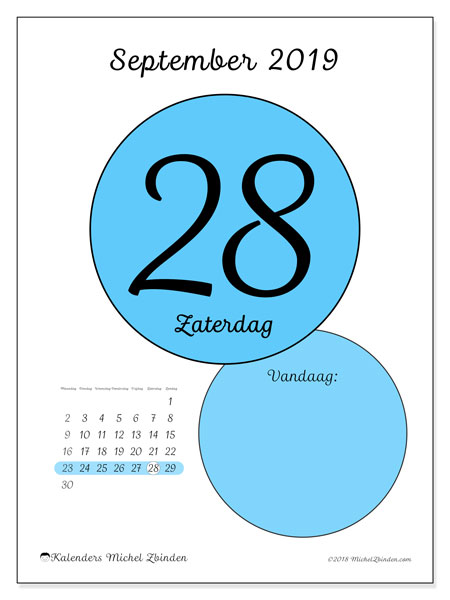 Kalender september 2019, 45-28MZ. Kalender voor de dag om gratis te printen.