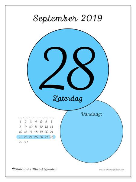 Kalender september 2019, 45-28ZZ. Dagelijkse kalender om gratis te printen.